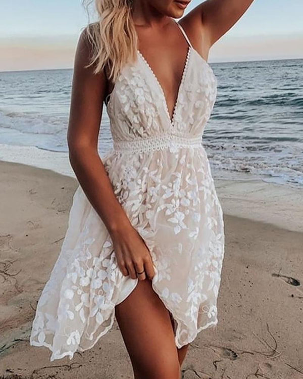 Floral Embroidery Plunge Crisscross Backless Dress