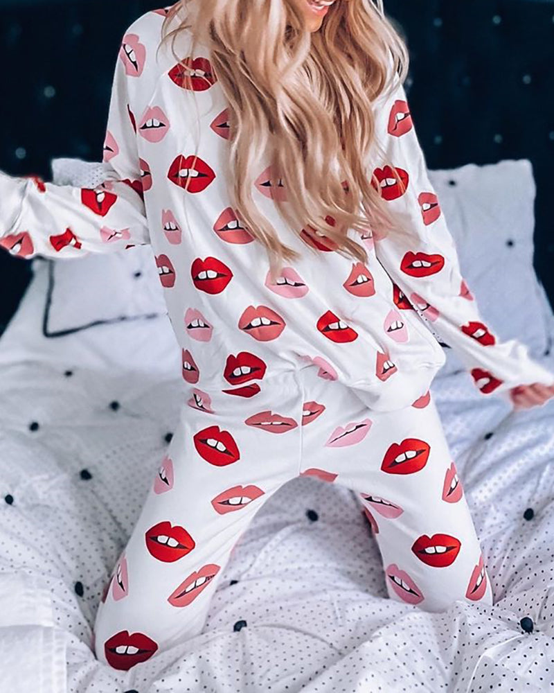 Lips Print Long Sleeve Pajamas Set