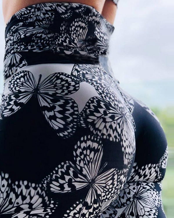 Butterfly Printing Fit Long Yoga Pants