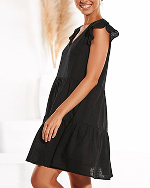 Solid Short Sleeve Ruffles A-line Dress