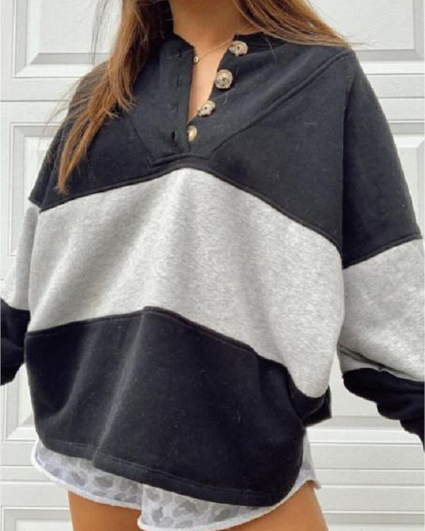 Colorblock Button-up Oversized Sports Sweatshirt