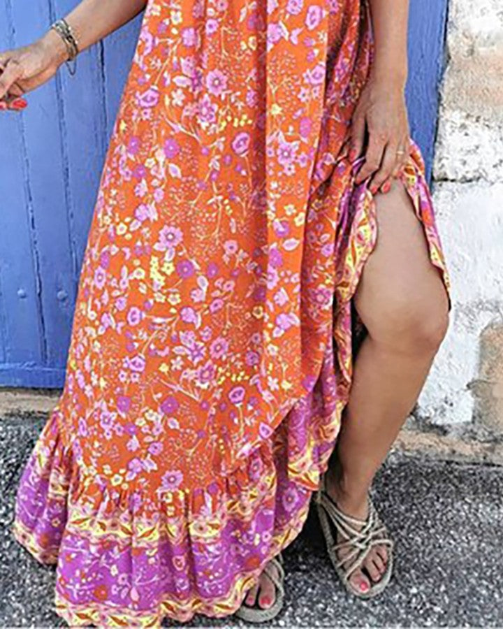 Spaghetti Strap Print Maxi Dress