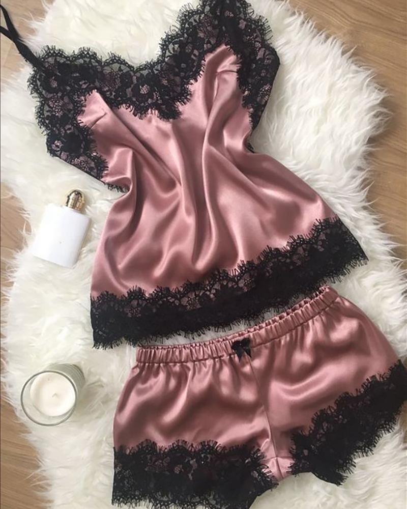 Eyelash Lace Insert Satin pajama set