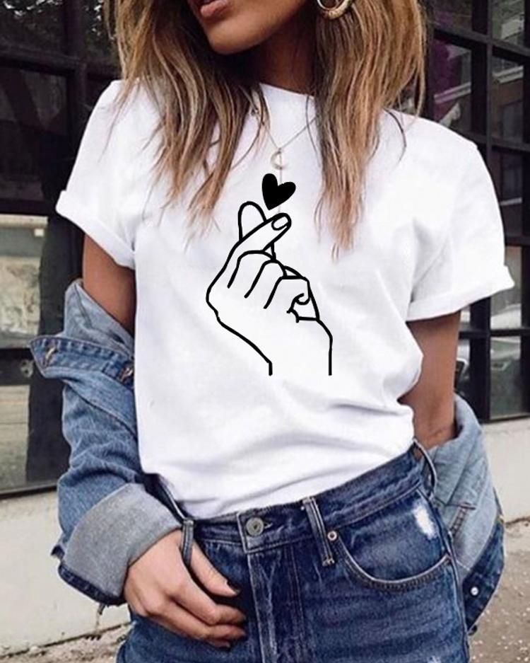 Casual Finger Than Heart T Shirt