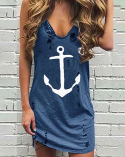 Boat Anchor Print Hollow Out Casual Dress