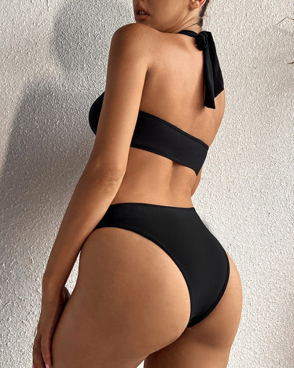 Plain Halter O-Ring Backless One-Piece Swimsuit