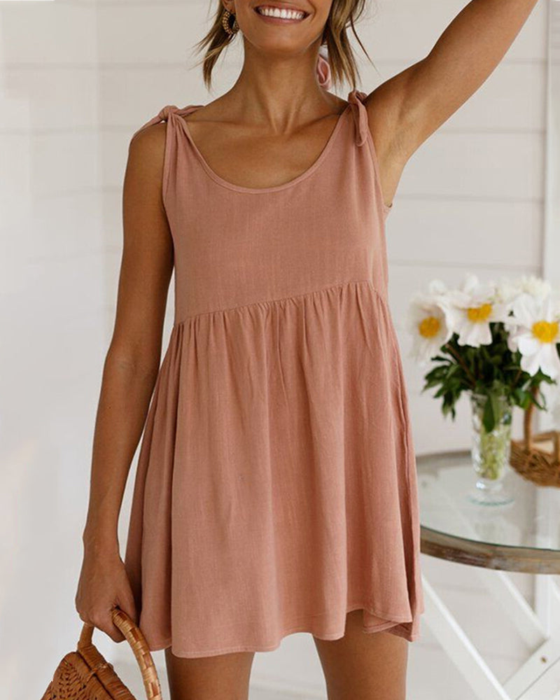Tied Detail Sleeveless Casual Dress