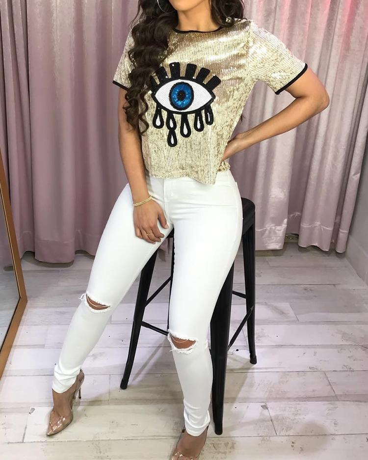 Eye Pattern Sequin Short Sleeve T-Shirt