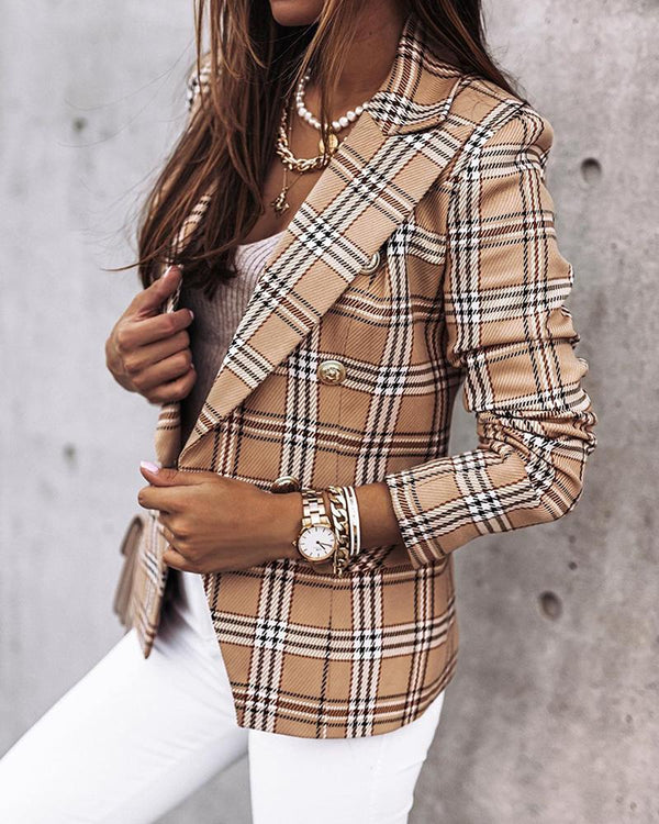 Plaid Long Sleeve Suit Coat