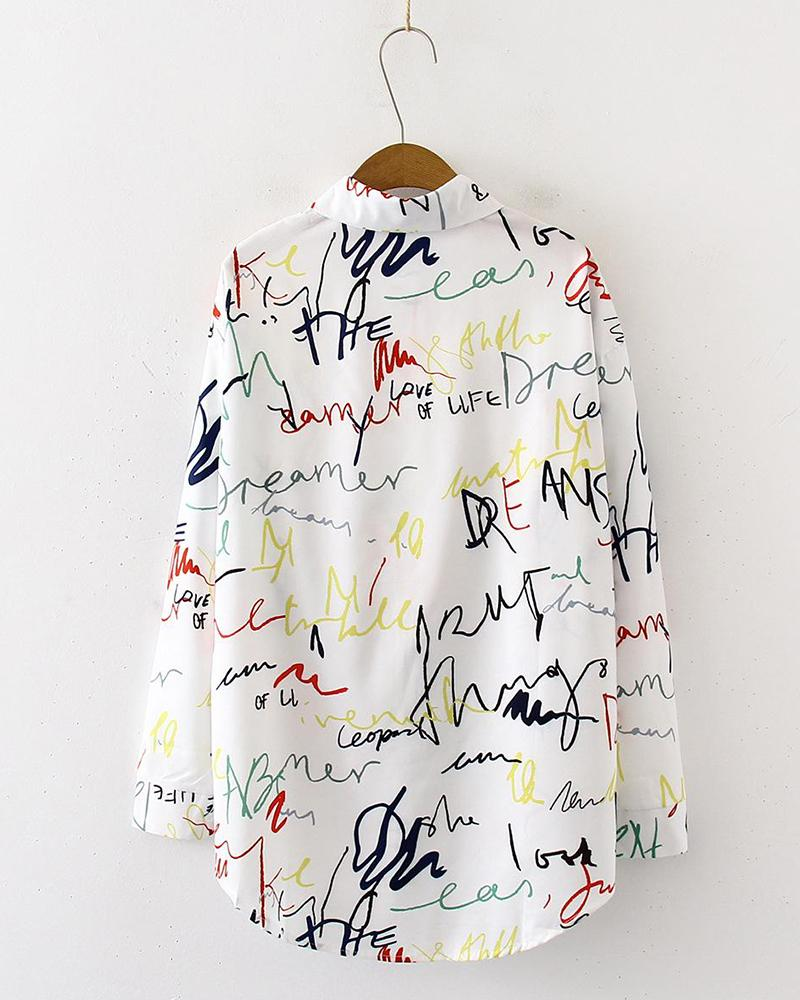 Multicolor Handwriting Button-Down Shirt