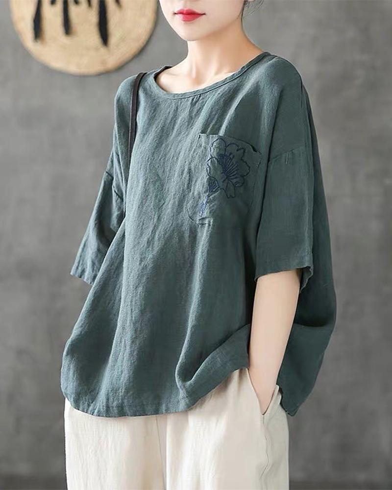 Floral Embroidery Front Pocket Top