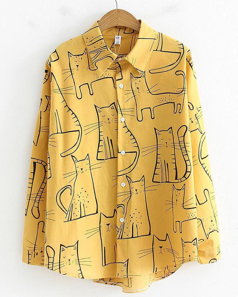 Cartoon Cat Button Detail Shirt