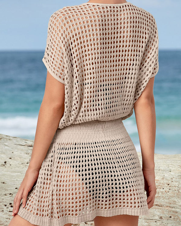 Solid Color Fishnet Short Sleeve Mini Dress Cover Ups