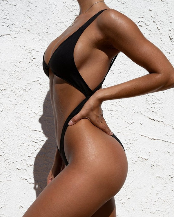 Solid Color Sling One-Piece Bikini Sets