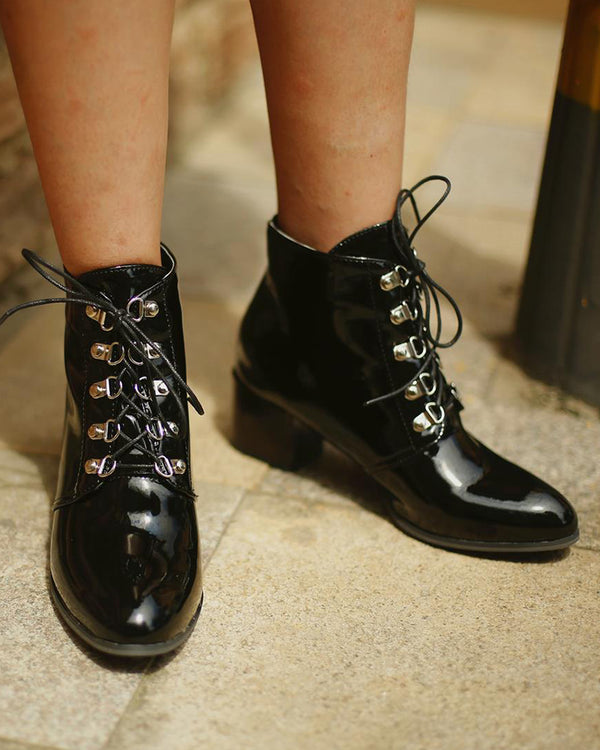 Solid Pointed Toe Lace-up Leather Block Heel Ankle Boots