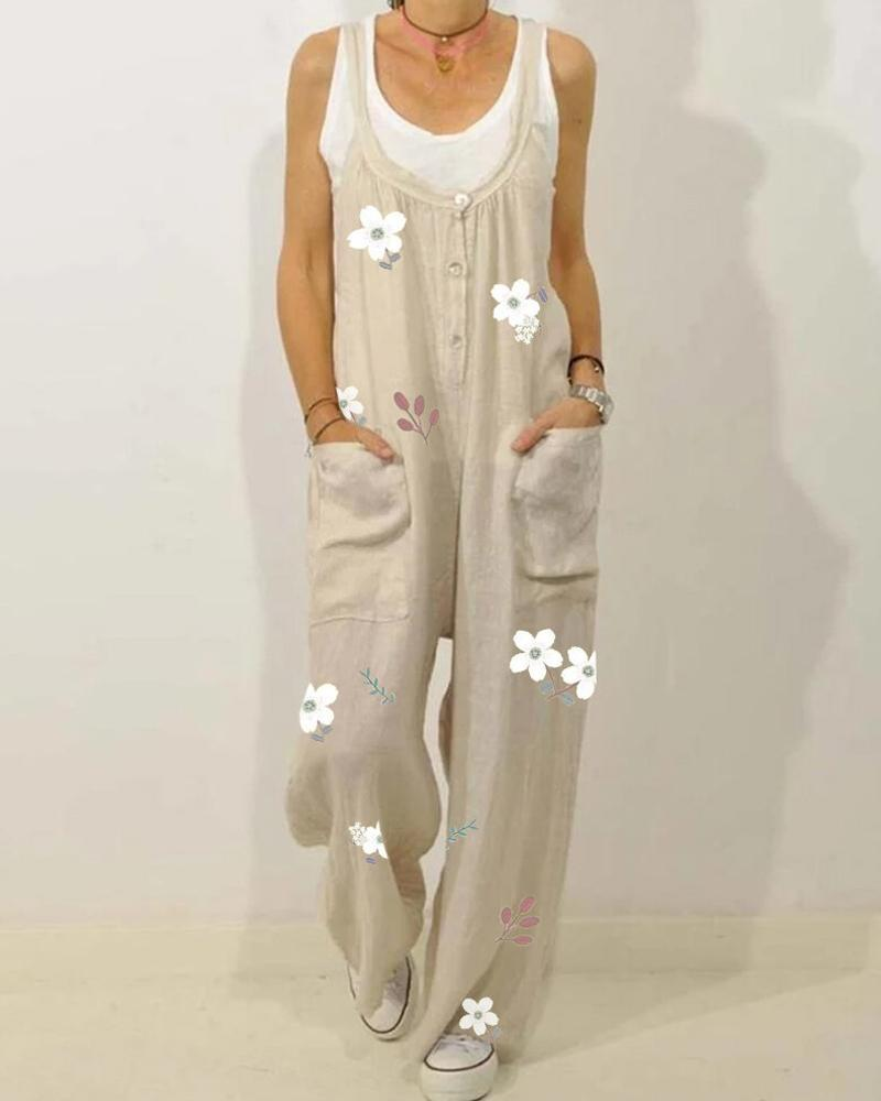 Floral Print Overall Jumpsuit