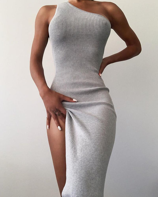 High Slit Knit One Shoulder Maxi Dress