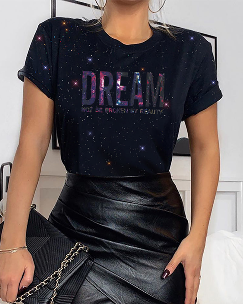 Round Neck Sequins Letter T-shirt