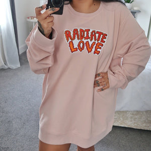 radiate love embroidered organic sweatshirt - nude pink