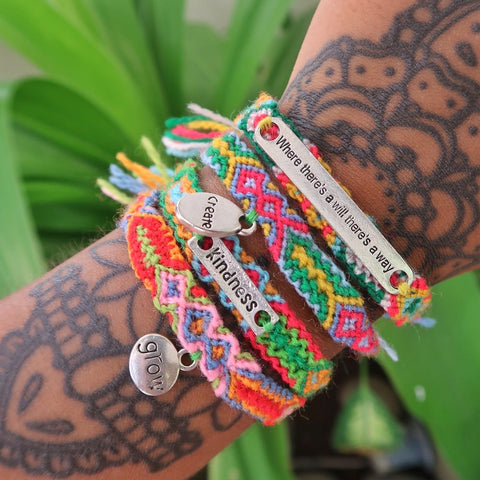 affirmation bracelets - woven patterned style