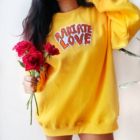 radiate love embroidered sweatshirt - yellow