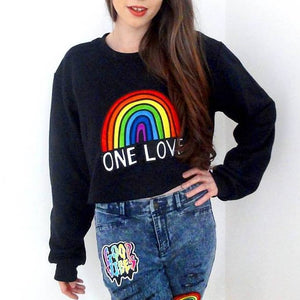 one love embroidered black sweatshirt