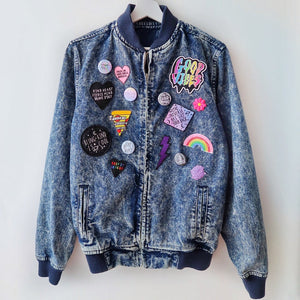 the 'super mix' acid wash denim bomber jacket