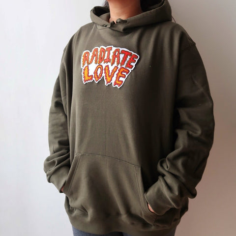 radiate love embroidered hoodie - khaki green