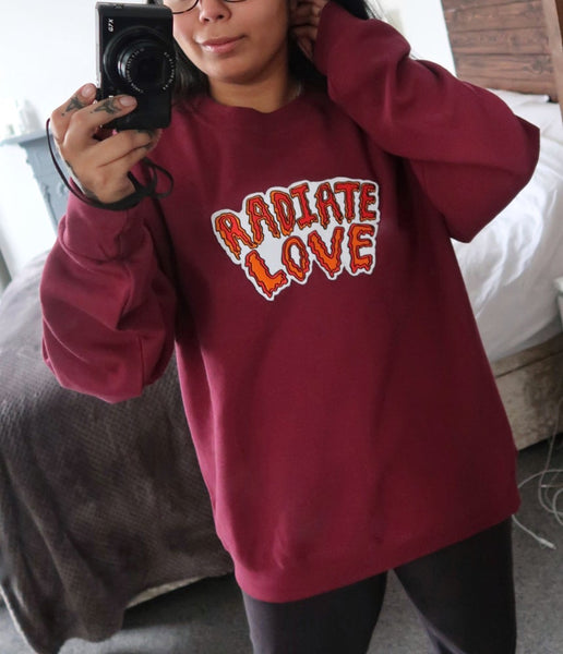 radiate love embroidered sweatshirt - dusky wine
