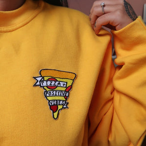 pizza and positive vibes embroidered sweatshirt - yellow
