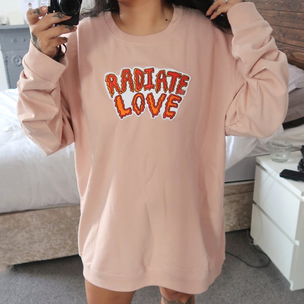radiate love embroidered sweatshirt - nude pink