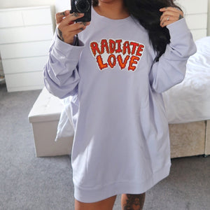 radiate love embroidered sweatshirt - lilac