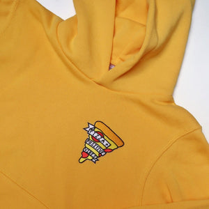 kids pizza and positive vibes embroidered hoodie - yellow