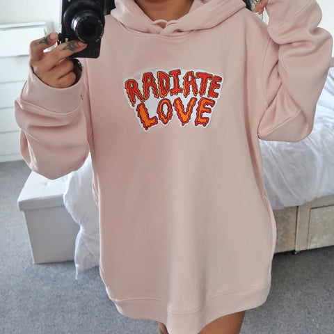 radiate love embroidered organic hoodie - nude pink