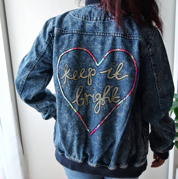 keep it bright heart denim bomber jacket
