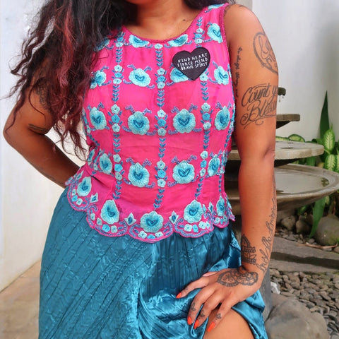 kind heart, fierce mind, brave spirit 'tropical monsoon' embellished top