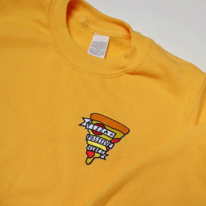 kids pizza and positive vibes embroidered sweatshirt - yellow