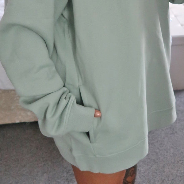 radiate love embroidered organic hoodie - mint green