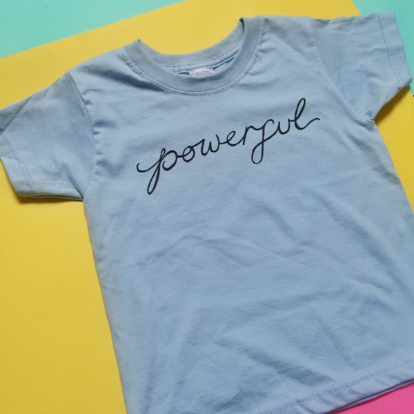 kids powerful t-shirt - blue