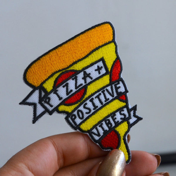 pizza + positive vibes iron-on patch