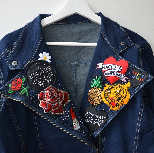 the 'fierce love' denim biker jacket