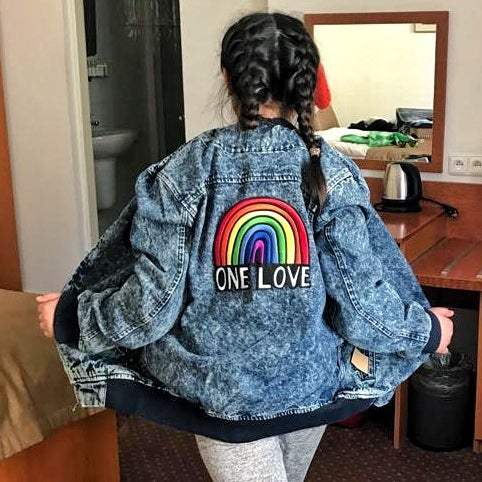 one love acid wash denim bomber jacket