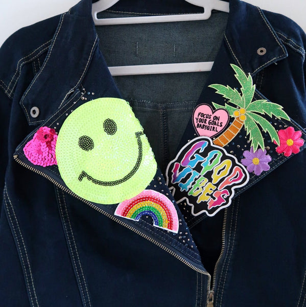 the 'tropical paradise' denim biker jacket