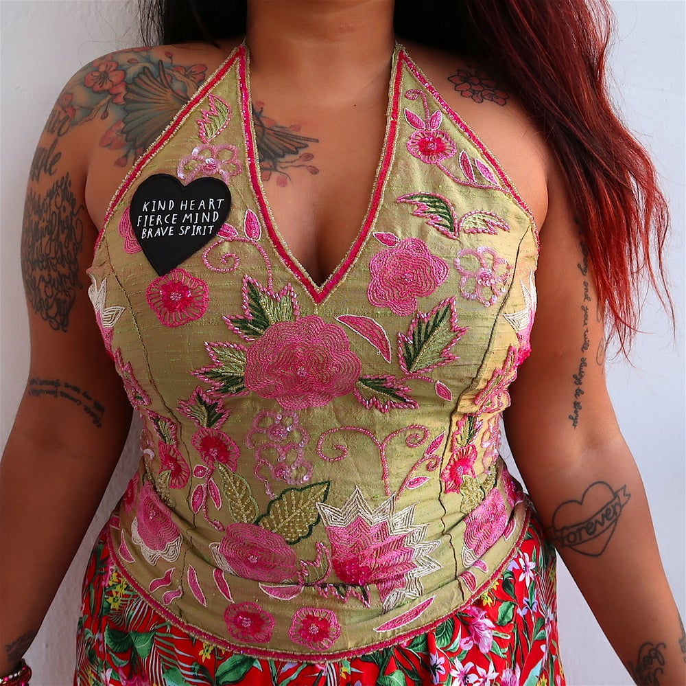 kind heart, fierce mind, brave spirit 'tropical garden' halter top