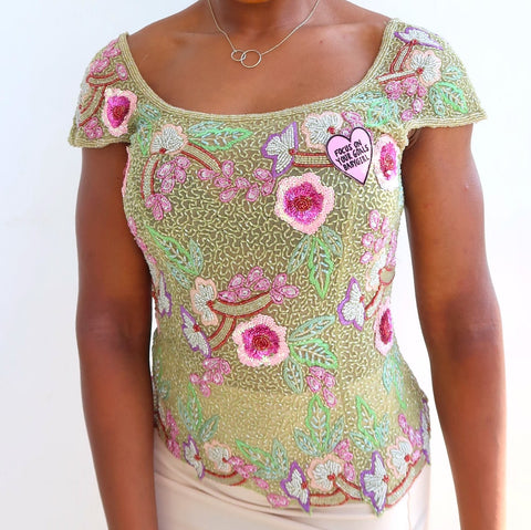 focus on your goals babygirl 'in bloom' embellished top