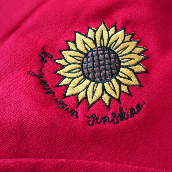 be your own sunshine embroidered sweatshirt - deep red