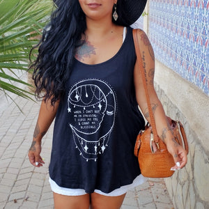 when I can't sleep.. moon organic vest top - black