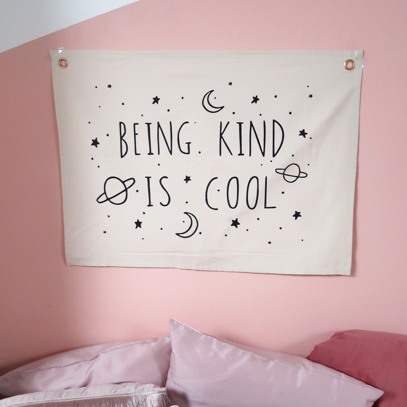 being kind is cool horizontal wall hanging - natural