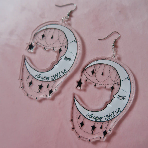 always shine moon earrings