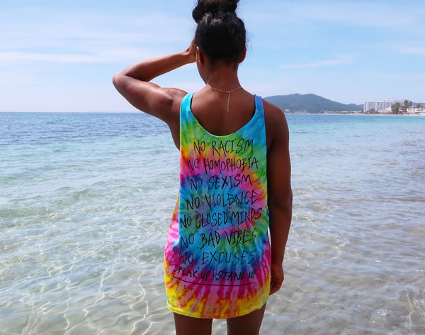 stand up rainbow tie-dye sleeveless top